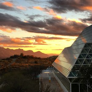 Sunset at Biosphere 2, with the Santa Catalina Mountains in the distance.