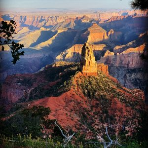 A pinnacle viewed from the highest point on the north rim of the Grand Canyon.