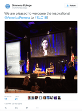 @SimmonsCollege welcomes America Ferrera to the conference