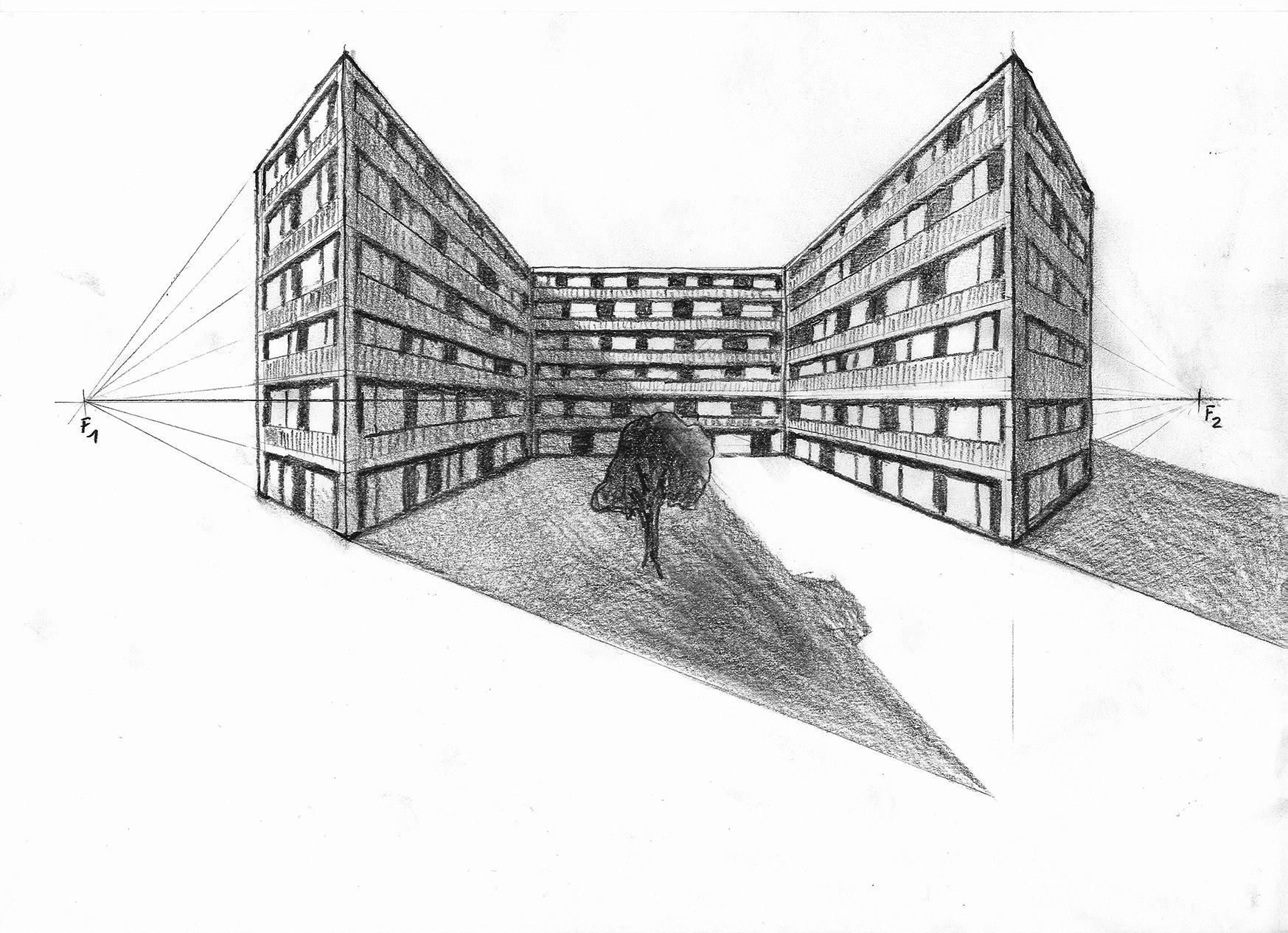 Perspektiven Zeichnen mit mehreren Fluchtpunkten  simofon