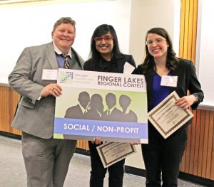 Kat Cook, Fahria Omar, and Sarah Spoto celebrate their Finger Lakes Regional win of the New York Business Plan Competition.