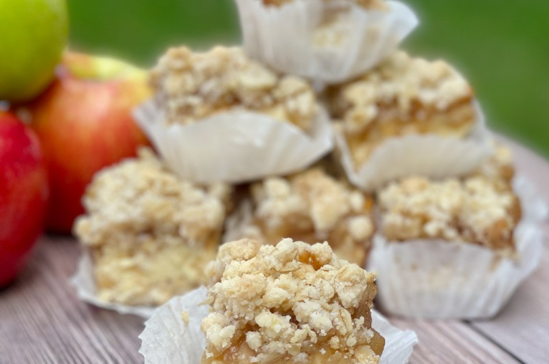 Gluten-free Spiced Apple and Cream Crumb Bars - when kids leave our home