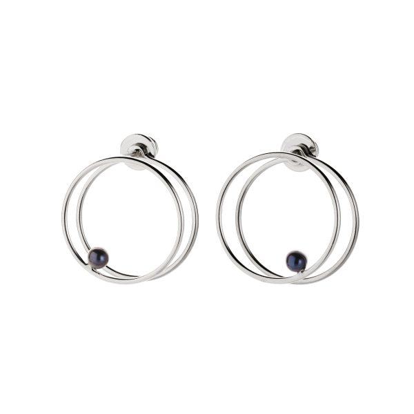 Black Pearl Double Circle Earrings