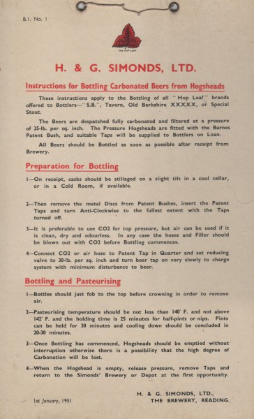 1951 H&G Simonds Bottling Instructions