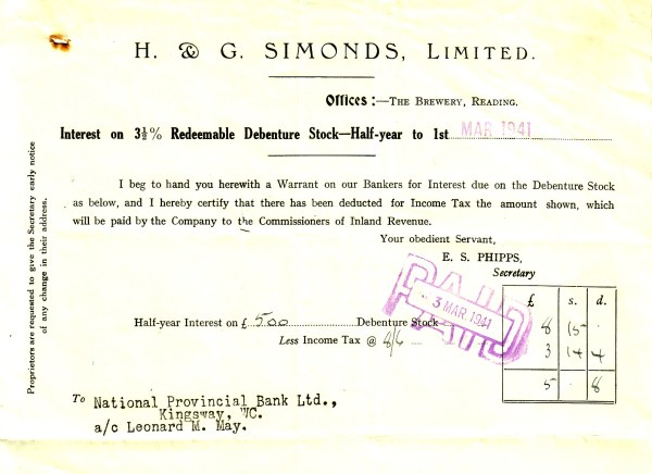 Debenture payment 1941