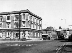 Offices on Bridge street view towards Butts 1979