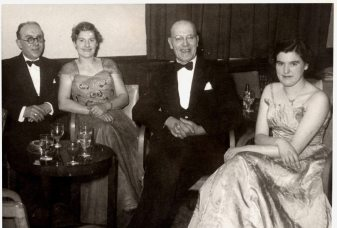 Staff Dinner, Staines 1956 by Giles Sanger. My Granddad, Eddie Wells (A E Wells) is on the right. His daughter Mary Sanger (nee Wells) is far right. The woman on the left, is granddad's sister in law, Freda Dossiter (my nana's sister) she worked at The Plough. on the far left is her husband Les Dossiter