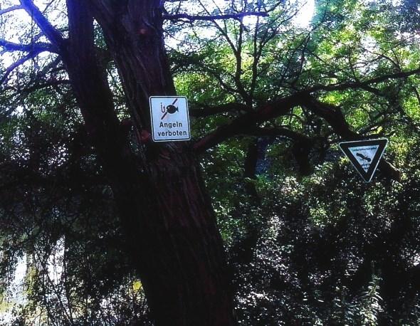 Schilder Angeln Verboten und Naturschutzgebiet