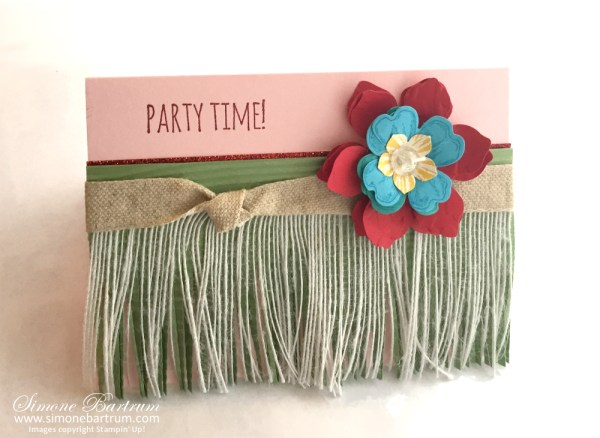 Grass Skirt Card. Flower lei, Stampin' Up! style. Come and join us on a Hawaiian themed blog hop!   www.simonebartrum.com