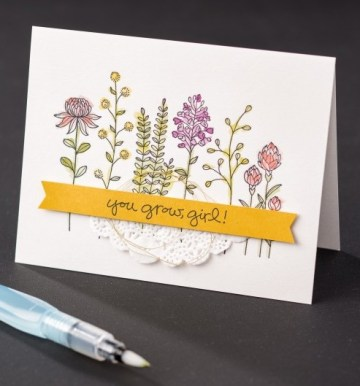 Flowering Fields stamp set by Stampin' Up!. Free with a qualifying purchase during Sale-a-bration (ends March 2016).