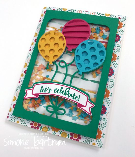 Lets Celebrate - Balloon Adventures stamp set and Balloon Pop-up Thinlits shaker card