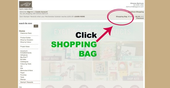 Click SHOPPING BAG - Add host code Stampin' Up!