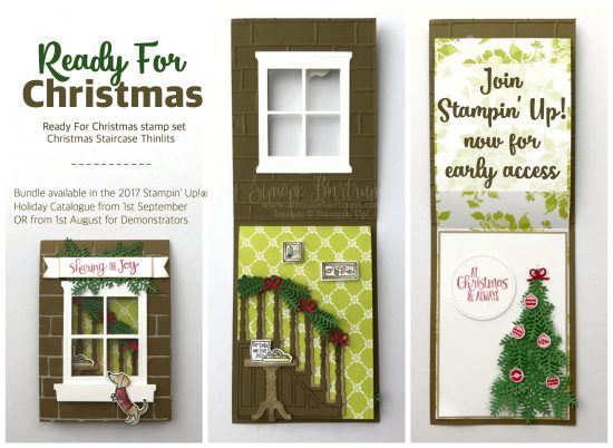 Stampin' Up! staircase: Ready for Christmas stamp set and Christmas Staircase framelits dies (more samples at www.simonebartrum.com)