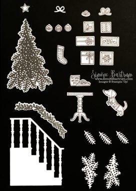 Christmas Staircase framelit dies. Includes 3 leaf dies and 2 branch dies, to reduce your operating time on the Big Shot.