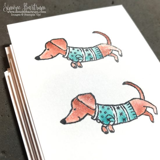Watercolouring with Wink of Stella and Stampin' Up! ink pads. Daschund dog stamp from Ready for Christmas stamp set - available in the 2017 Holiday Catalogue.