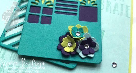 Little flowers made using die cut cardstock in Lemon Lime Twist, Pool Party, Elegant Eggplant and Bermuda Bay. Part of the Colour Inspiration Colour Challenge.
