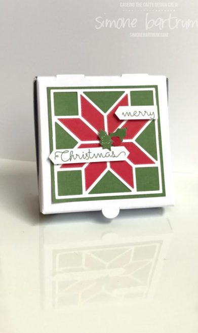 Mini Pizza Boxes by Stampin' Up!. Decorated with products from the Quilted Christmas suite.