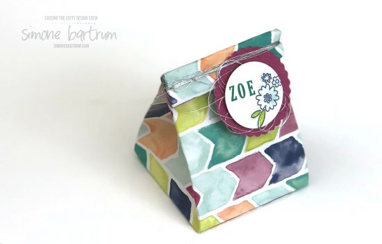 Mini paper pinch box featuring Pick a Pennant stamp set by Stampin' Up! (available from 1st June 2018)