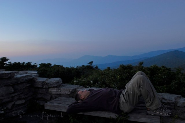 Without support, this image wouldn't have been possible. Ray gazing into the night sky on the Blue Ridge Parkway