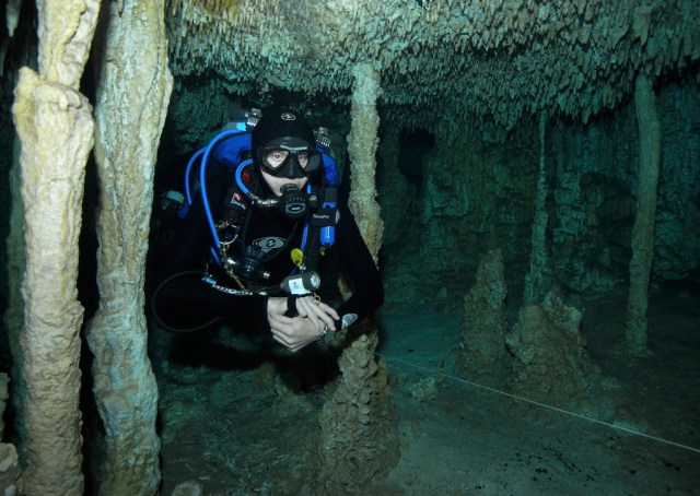 Simone cave diving in Mexico. Photo by Ed Jackson