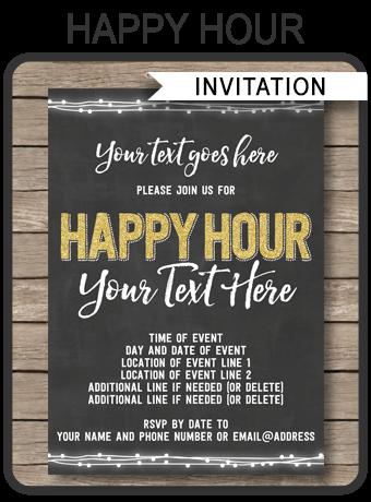 Happy Hour Invitation Sample : happy, invitation, sample, Chalkboard, Happy, Invitation, Template, Printable, Invite