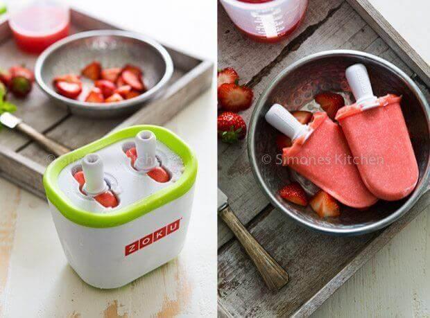 Aardbeien watermeloen ijsjes | simoneskitchen.nl