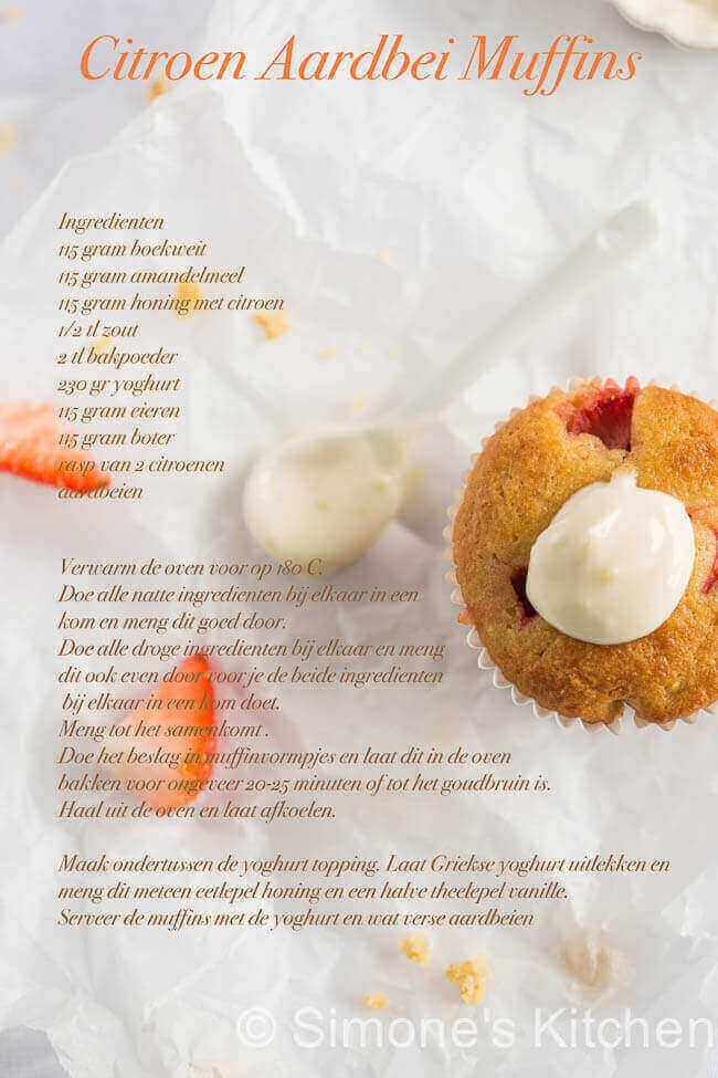 Citroen aardbeien muffins met yoghurt   simoneskitchen.nl