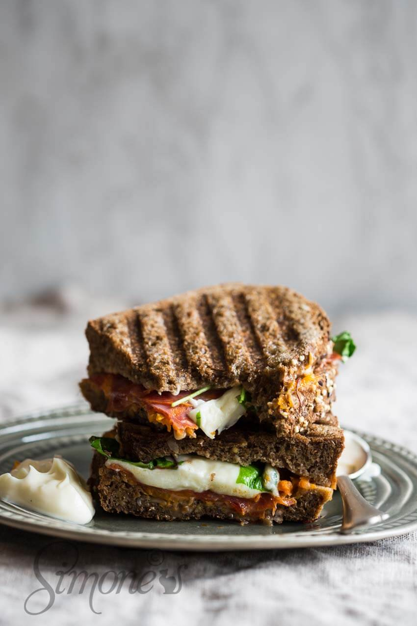 Sandwich met pompoen en mozzarella | simoneskitchen.nl