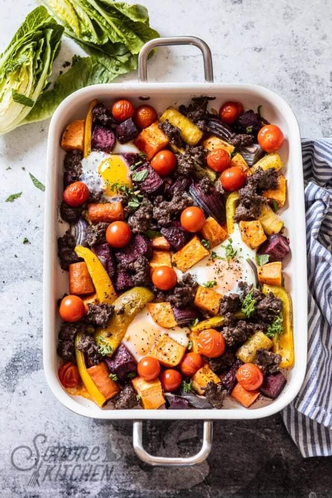 Gehakt ovenschotel met wortelgroentes