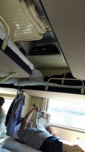 Der Blick von meiner Liege im Zug.