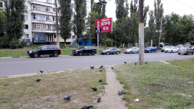 """Meine Nachbarschaft. Hier wirbt die Kommunistische Partei Russlands (KPRF) um Stimmen für die Parlamentswahl: """"Wir glauben nur der KPRF."""""""