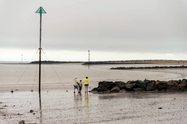 A picture of Minehead beach on a grey wet day in August 2012