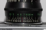 Depth of field scale on the Jupiter 8 M39 lens