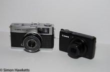 Olympus Trip 35 compared to a Canon S95 for size