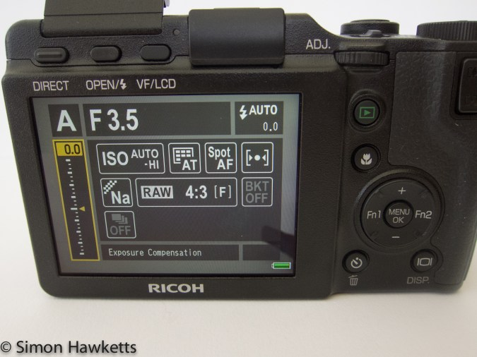 Ricoh GXR system camera fase access screen