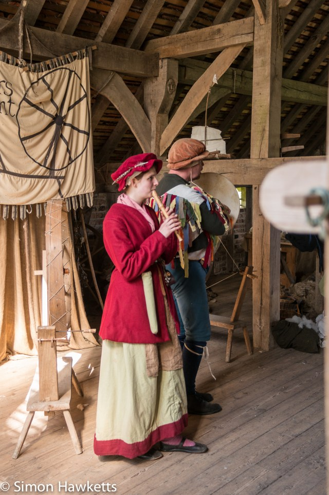 Kentwell Hall Tudor day pictures - Minstrels playing for the spinners
