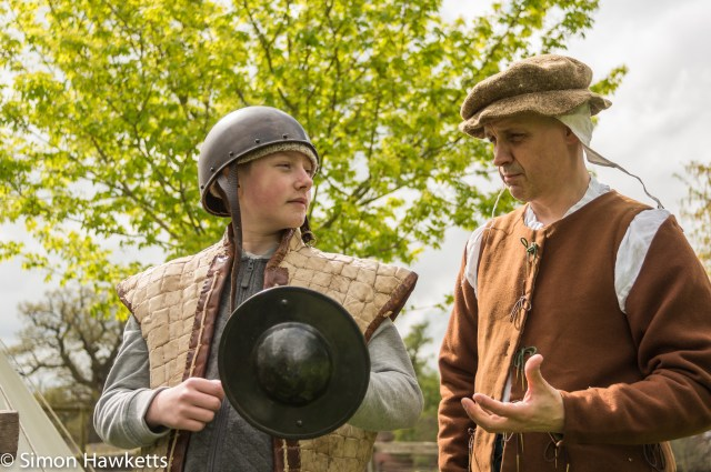 Kentwell Hall Tudor day pictures - The archer explains his role