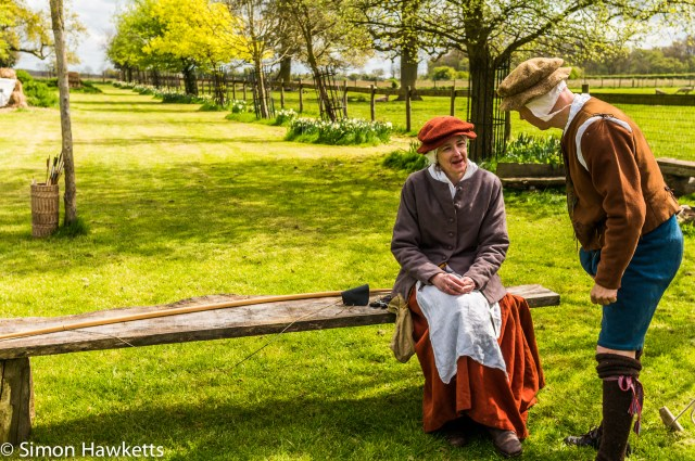 Kentwell Hall Tudor day pictures - The archer talks to his wife