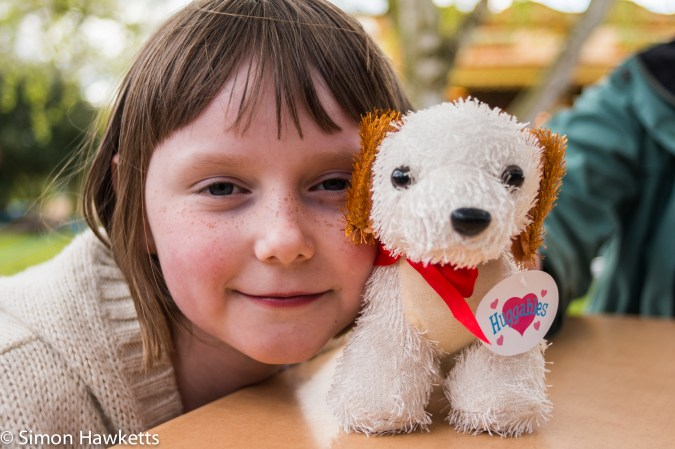 Pictures from Bressingham gardens in Norfolk - Small girl with a fluffy toy