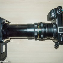 Slide duplicator for 35mm slides fitted to a Sony Nex 6 and Helios 44