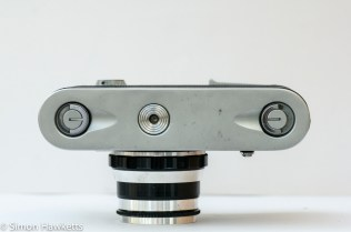 Fed 4 35mm rangefinder film camera showing bottom of camera