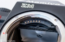 Mamiya ZM Quartz 35mm slr camera showing lens communication pins