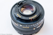 Mamiya ZM Quartz 35mm slr camera showing lens contacts