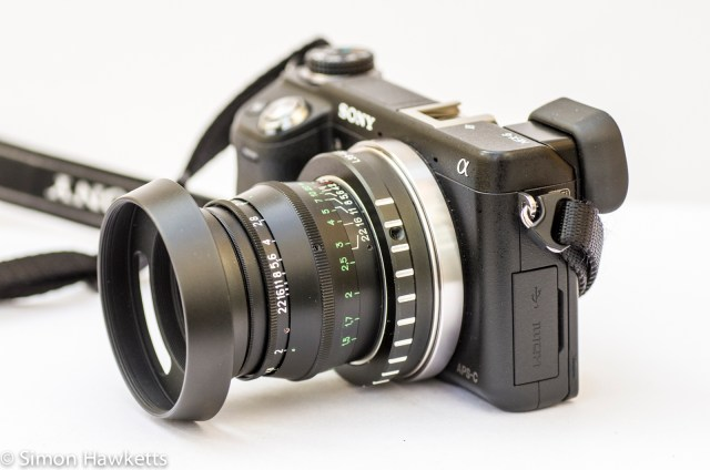 Jupiter 8 50mm f/2.0 fitted on the Sony Nex 6 with lens hood