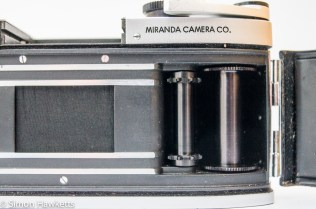 Miranda Fv 35mm slr showing film advance and take up