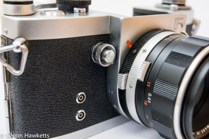 Miranda Fv 35mm slr showing lens release, shutter release and flash sync sockets