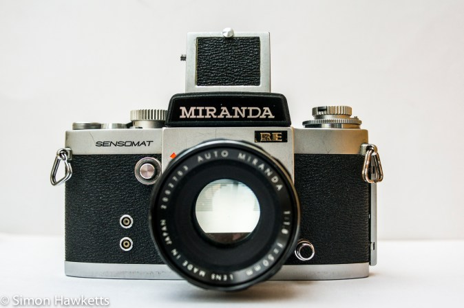 Miranda Sensomat RE 35mm slr camera showing front view with waist level finder fitted
