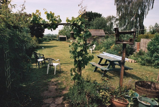 Photos from film found in old cameras - a back garden or possible a pub garden