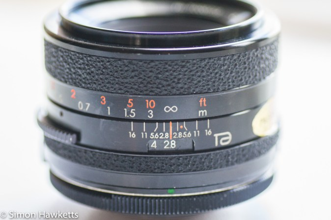 Tamron BBar 28mm f/2.8 focus and aperture scale