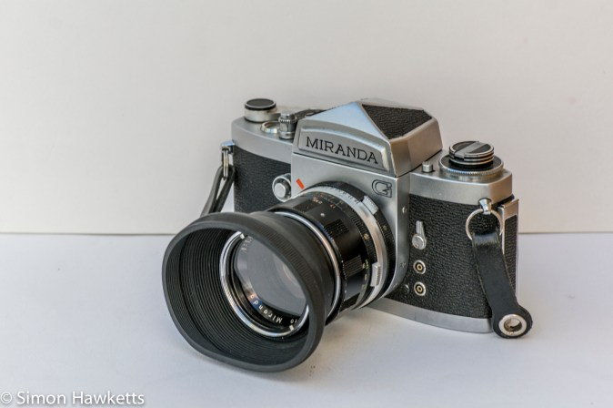 Miranda G 35mm slr camera showing collapsible hood and filter fitted